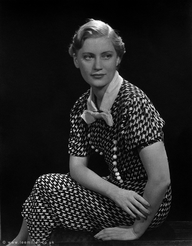 Copyright Lee Miller Self portrait in black and white patterned dress New York USA 1932