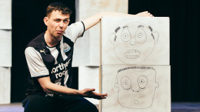 Actor with paper drawing